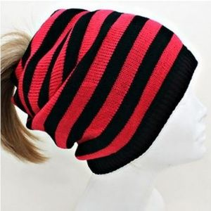 Red Striped Slouchy Ponytail Hole Beanie Cap Hat